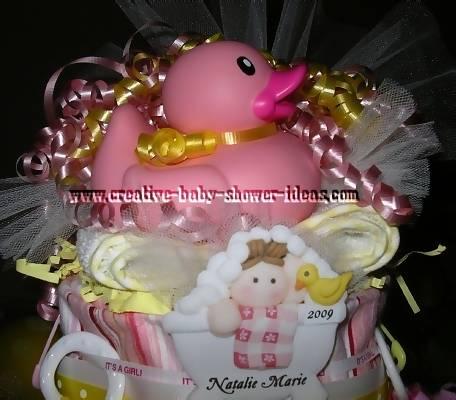 pink rubber duck diaper cake