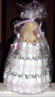 elegant pink roses diaper cake