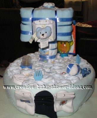 blue baby basketball hoop diaper cake