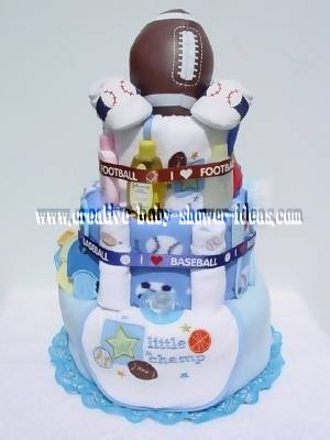 sports champ diaper cake with sports balls