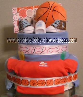 basketball diaper cake with baby bodysuits and sneakers