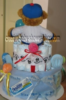 back of chicago cubs diaper cake