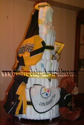 cute pittsburgh steelers diaper cake with baby outfit