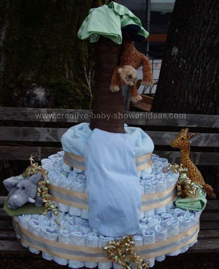 safari animals diapers cake