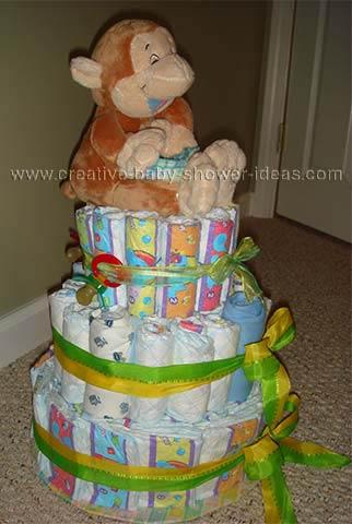 side of giggling monkey diaper cake