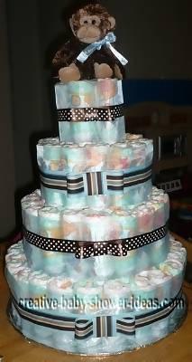 4 tier modern monkey diapers cake