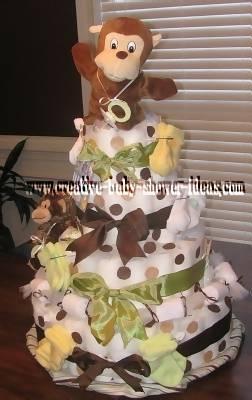 green and brown polka dot nappy cake
