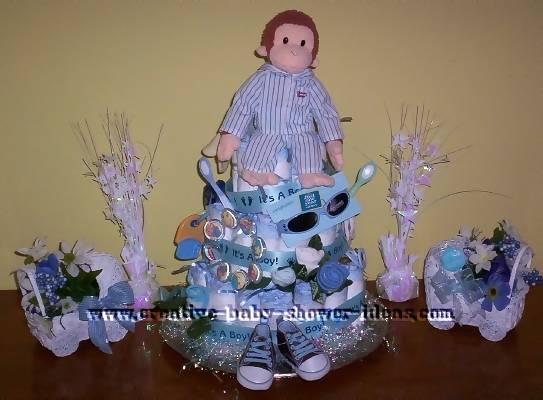 blue monkey pajamas diaper cake