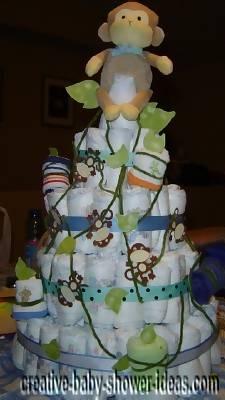 swinging monkeys on vines diapers cake