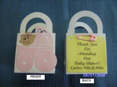 baby carriage bag shower favors