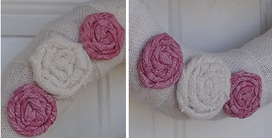closeup of fabric roses