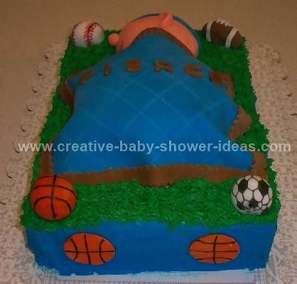 other side of sports ball cake showing blue sides and soccer ball decorations