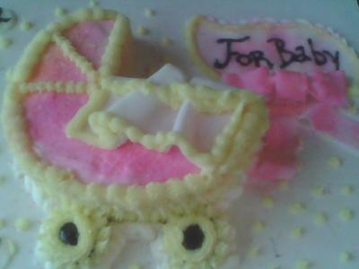 Pink and Yellow Baby Stroller cake