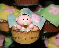 finished baby and blanket cupcakes