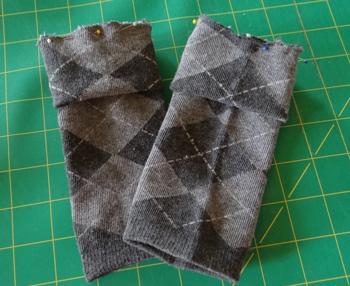 2 crew socks ready to sew