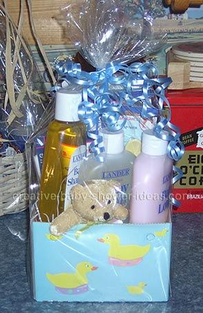 blue teddy bear basket centerpiece