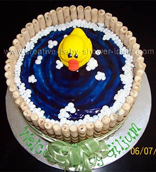 Top view of Rubber Ducky Bathtub Cake