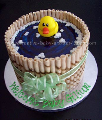 Side View of Duck Bathtub Cake with green bow