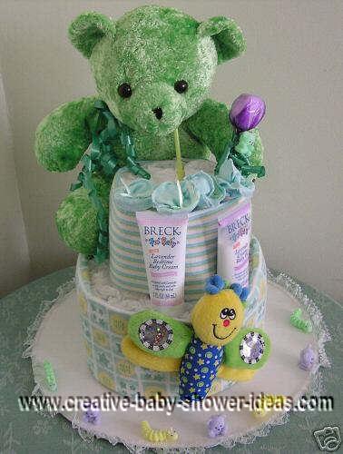 green bear diaper cake