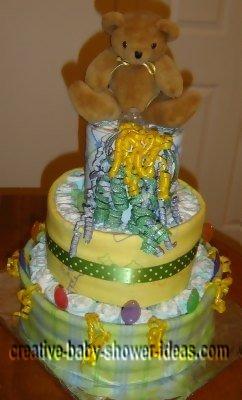 front of bear diaper cake