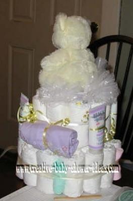 back of ballerina bear diaper cake