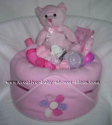 pink blanket bear diaper cake