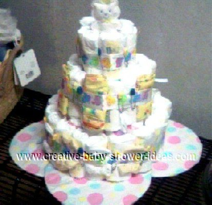bear ribbon diaper cake