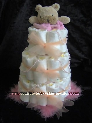pink pearls bear diaper cake
