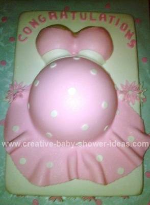pink and white polka dot belly cake