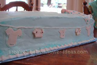 closeup of clothesline on blue cake