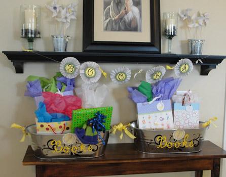 book baby shower gift bins