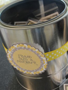 paint bucket holding book baby shower favors