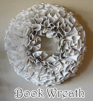 book wreath with pages from books