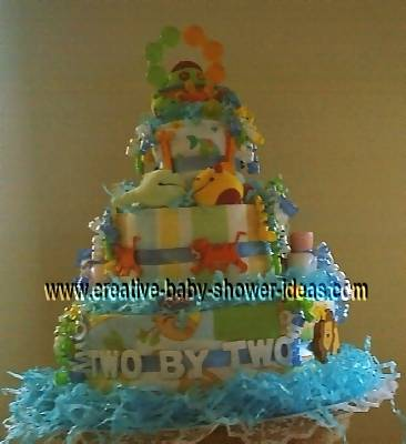 noahs ark diaper cake that says two by two