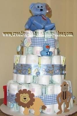 blue plaid boy diaper cake