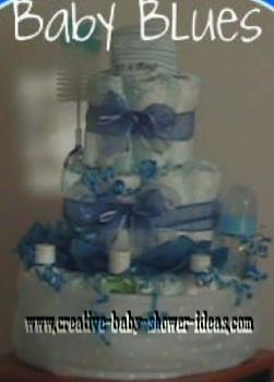 blue bows boy diaper cake
