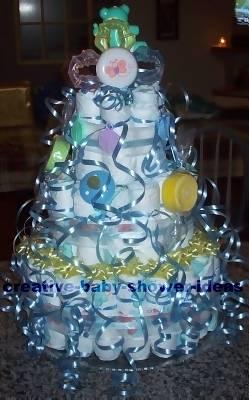blue curling ribbon diaper cake