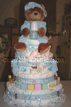boy blocks teddy bear diaper cake