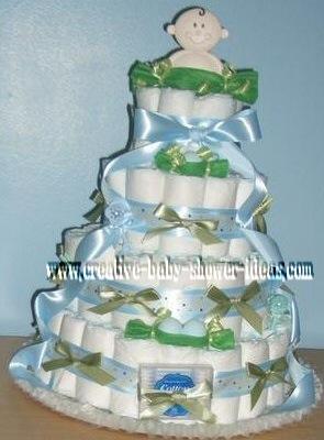sweet pea boy diaper cake