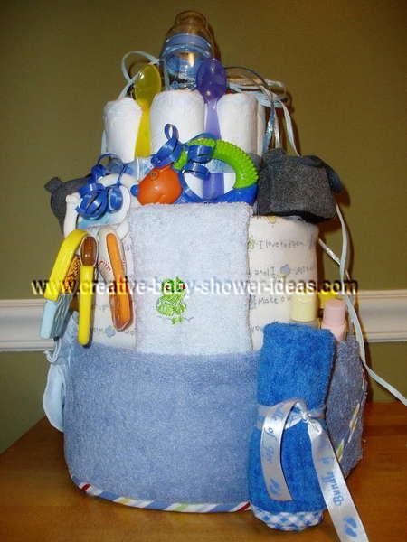 front of boy diaper cake