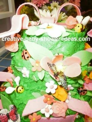 Closeup showing details of bugs on baby shower cake