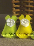 green and yellow mini felt dresses for bun in the oven game