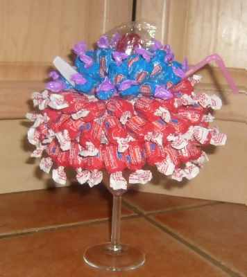 blue and red candy sundae centerpiece