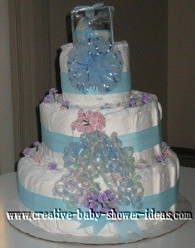 blue baby carriage diaper cake