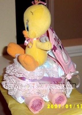 pink tweety bird baby carriage diaper cake