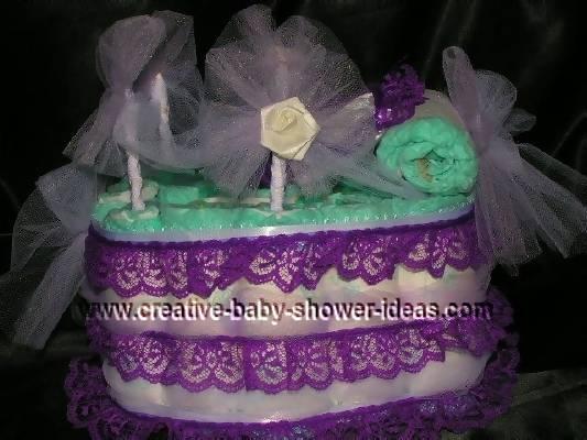 purple lace bassinet diaper cake