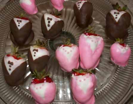 tuxedo and evening gown dress chocolate covered strawberries