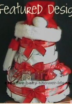 red and white santa hat christmas diaper cake