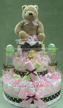mod classic pooh diaper cake with polka dot bows