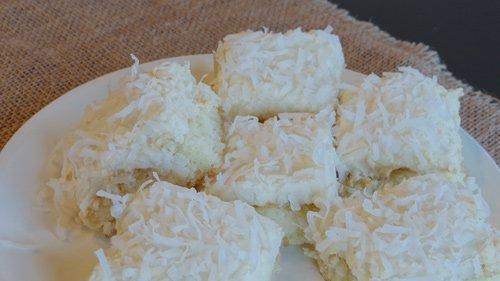 closeup of coconut cake